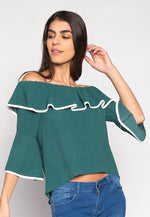 Girl Power Contrast Piping Off Shoulder Blouse