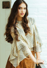 Whittier Plaid Chiffon Blouse in Ivory