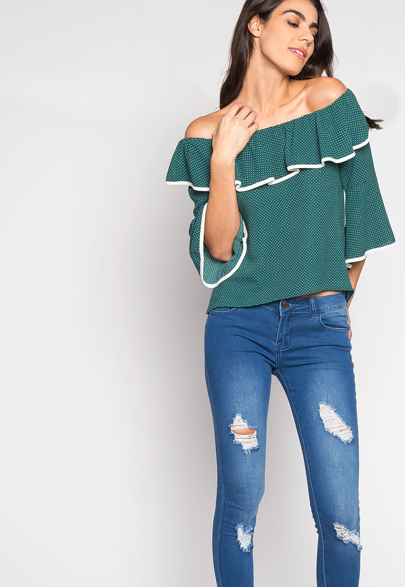 Girl Power Contrast Piping Off Shoulder Blouse - Shirts & Blouses - Wetseal