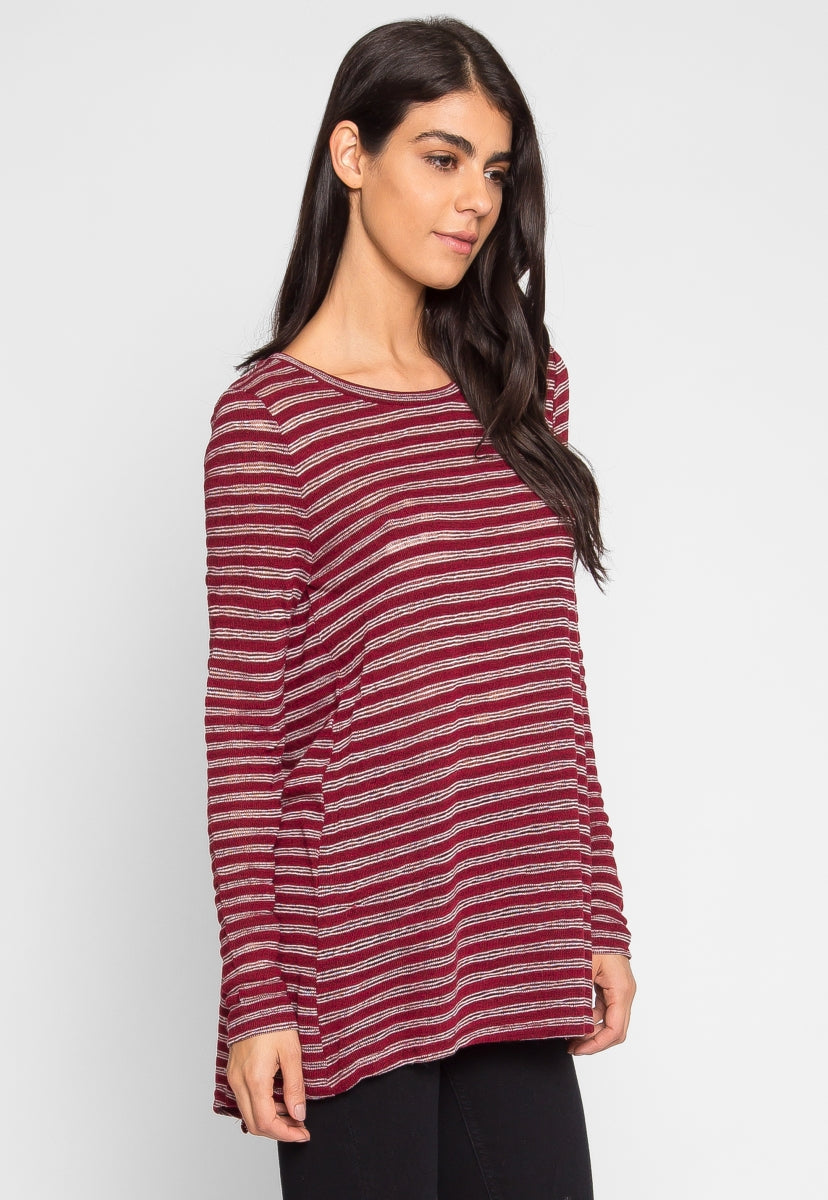 Compass Stripe Knit Top in Wine - Shirts & Blouses - Wetseal