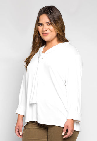 Plus Size Florida Tie Neck Knit Top in White