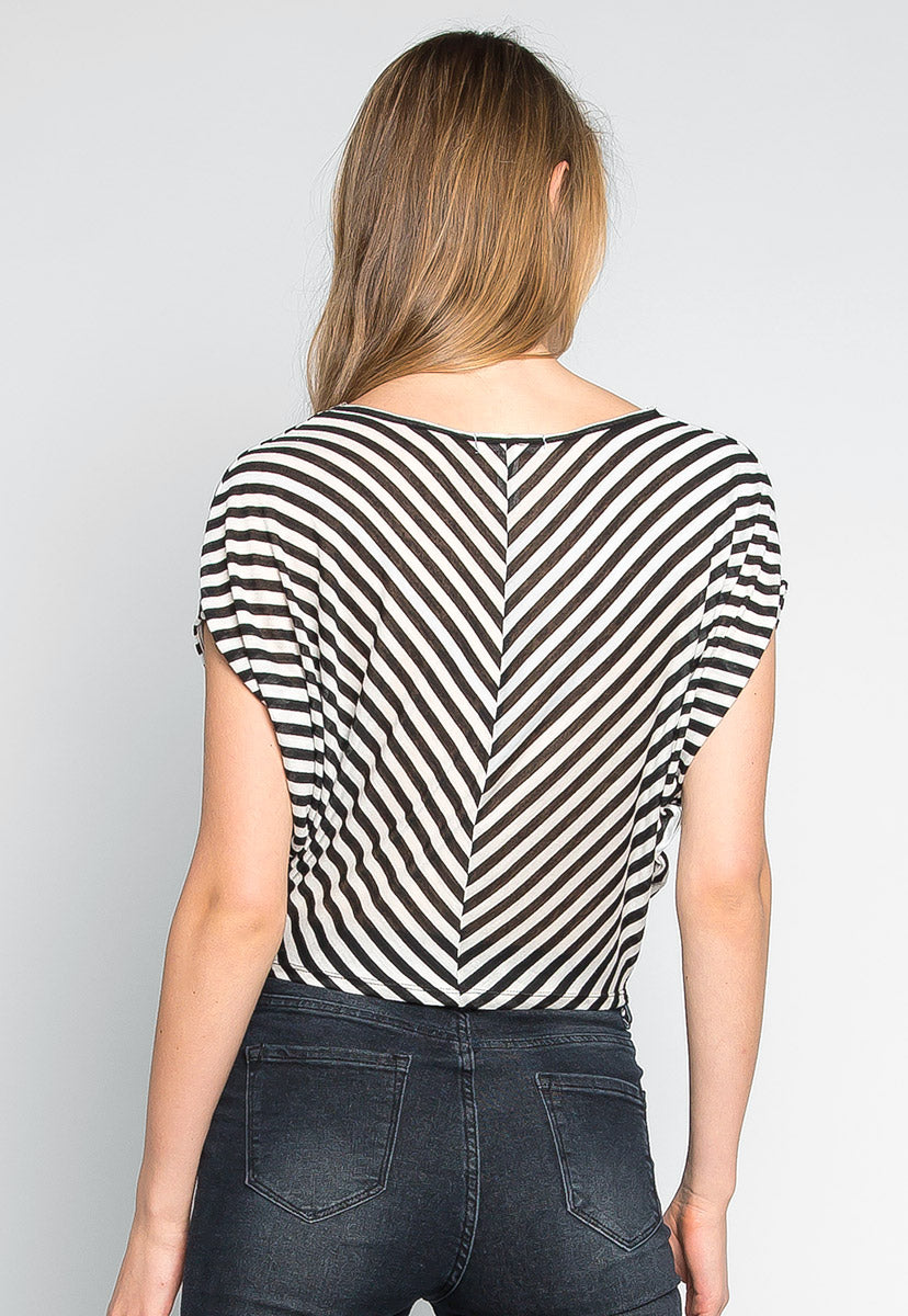 Snowdrop Striped Knit Top in Black - Shirts & Blouses - Wetseal