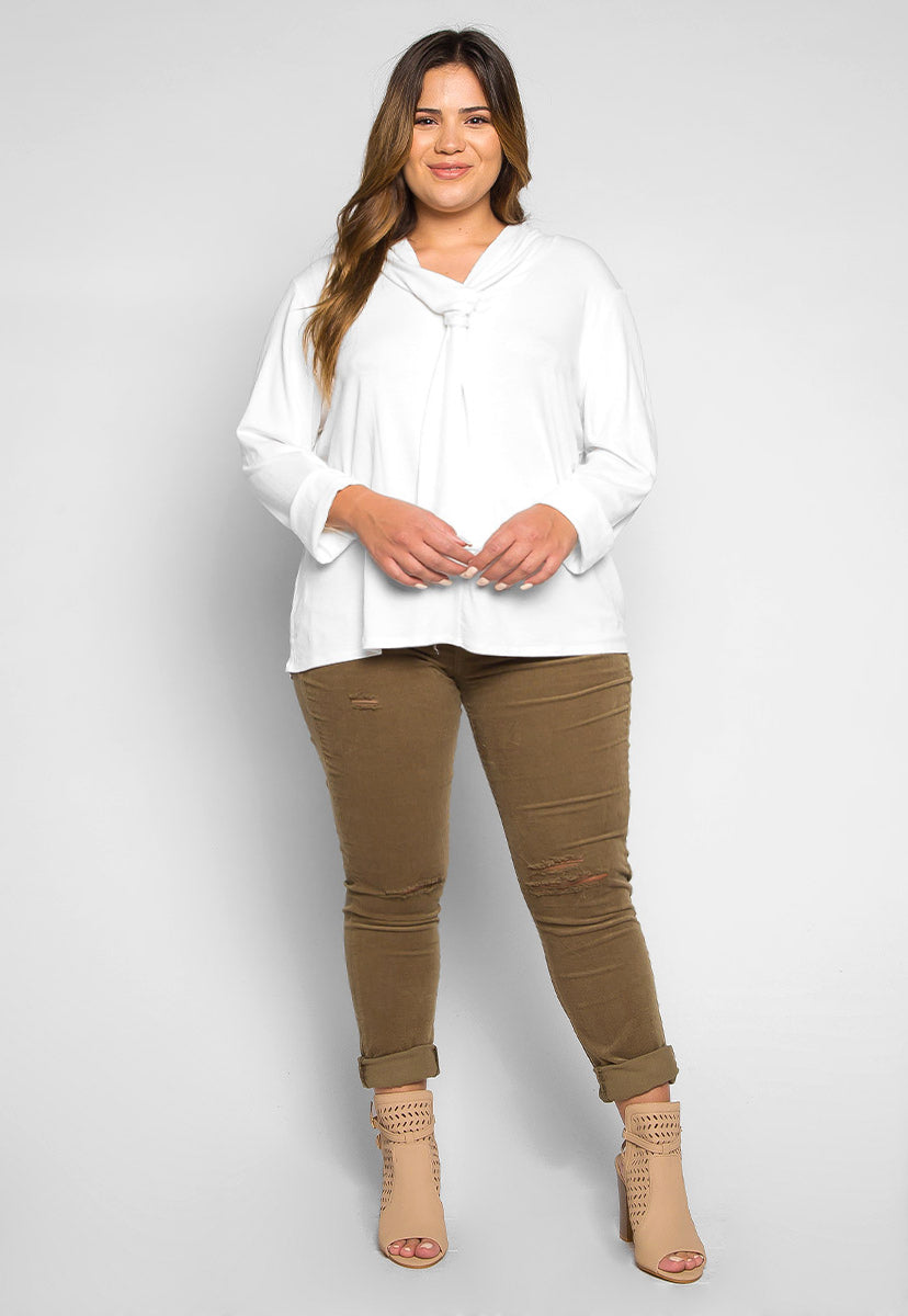 Plus Size Florida Tie Neck Knit Top in White - Plus Tops - Wetseal