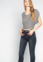 Snowdrop Striped Knit Top in Black