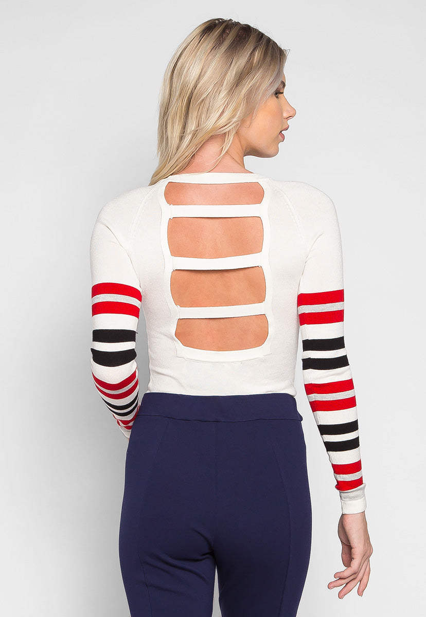 Get Away Ladder Back Stripe Sweater - Sweaters & Sweatshirts - Wetseal