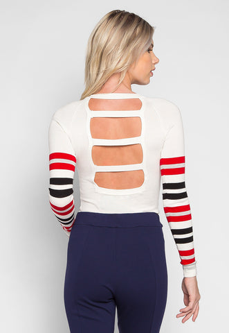 Get Away Ladder Back Stripe Sweater