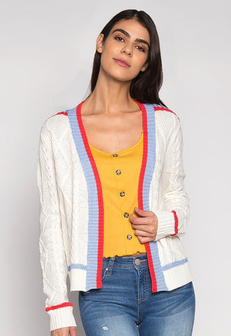 Sunday Vibes Contrast Trims Oversized Cardigan