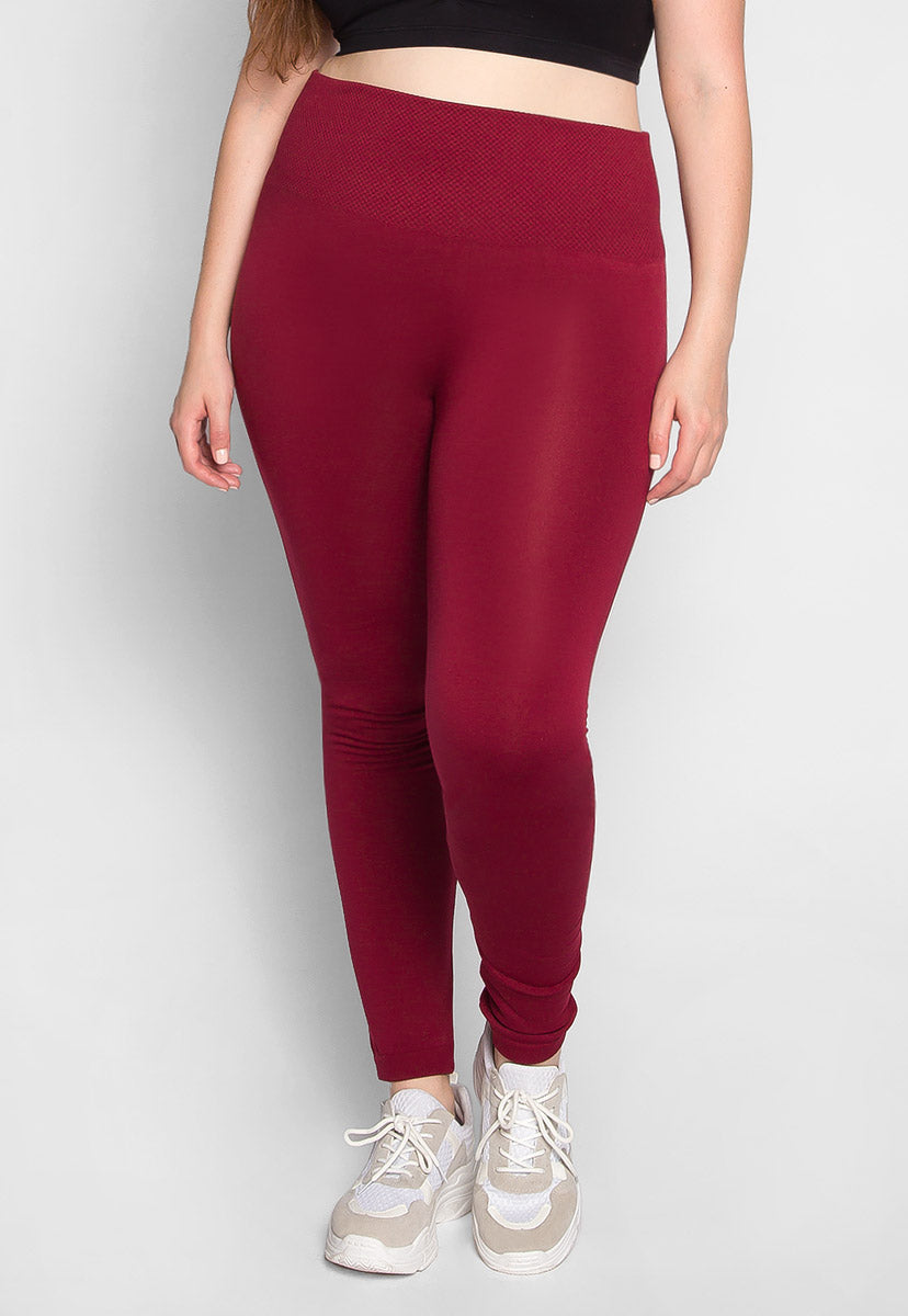 Plus Size High Waist Control Leggings in Burgundy - Plus Bottoms - Wetseal