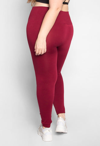 Plus Size High Waist Control Leggings in Burgundy