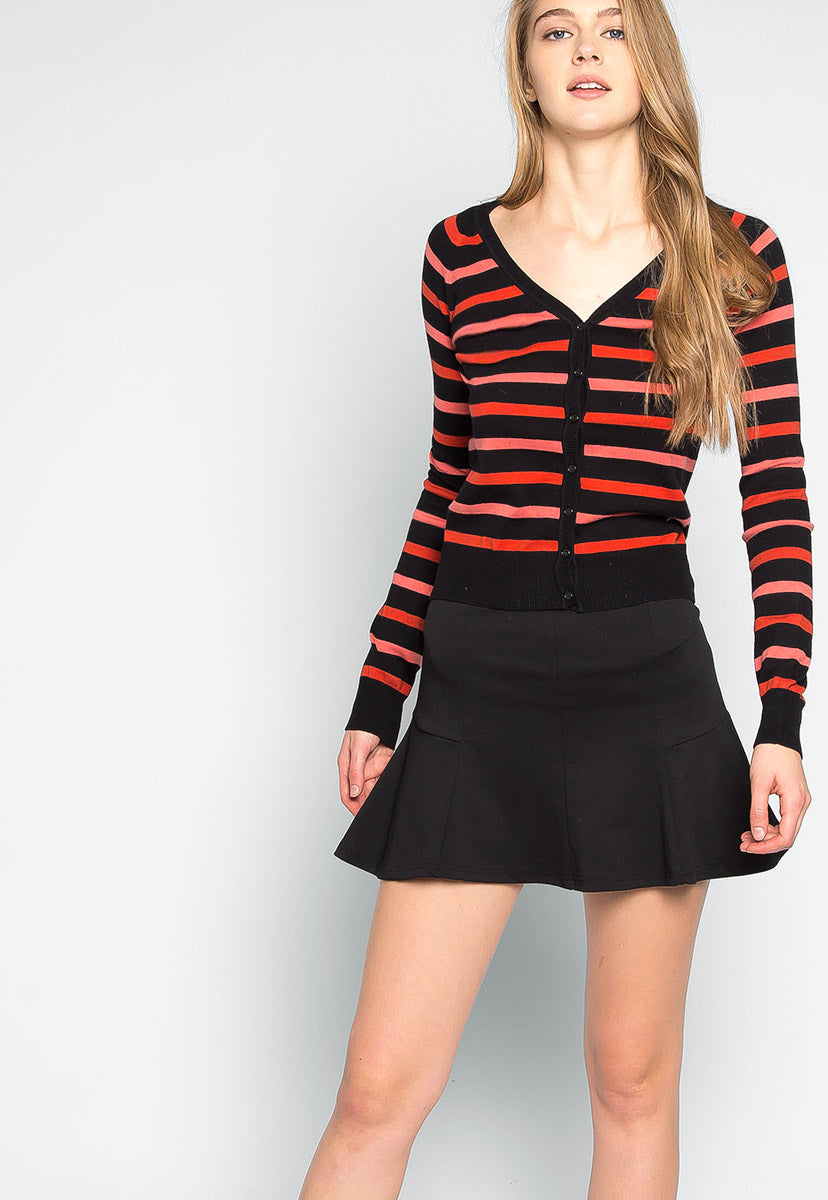 Cinnamon Striped Button Up Cardigan - Sweaters & Sweatshirts - Wetseal