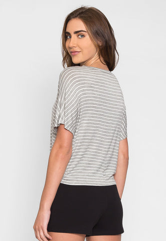 Acting Up Stripe Top in Gray