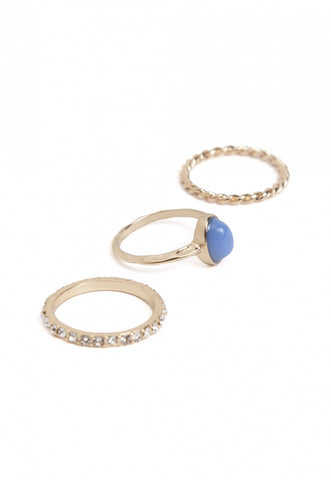 Snow Azure Stack Ring Set