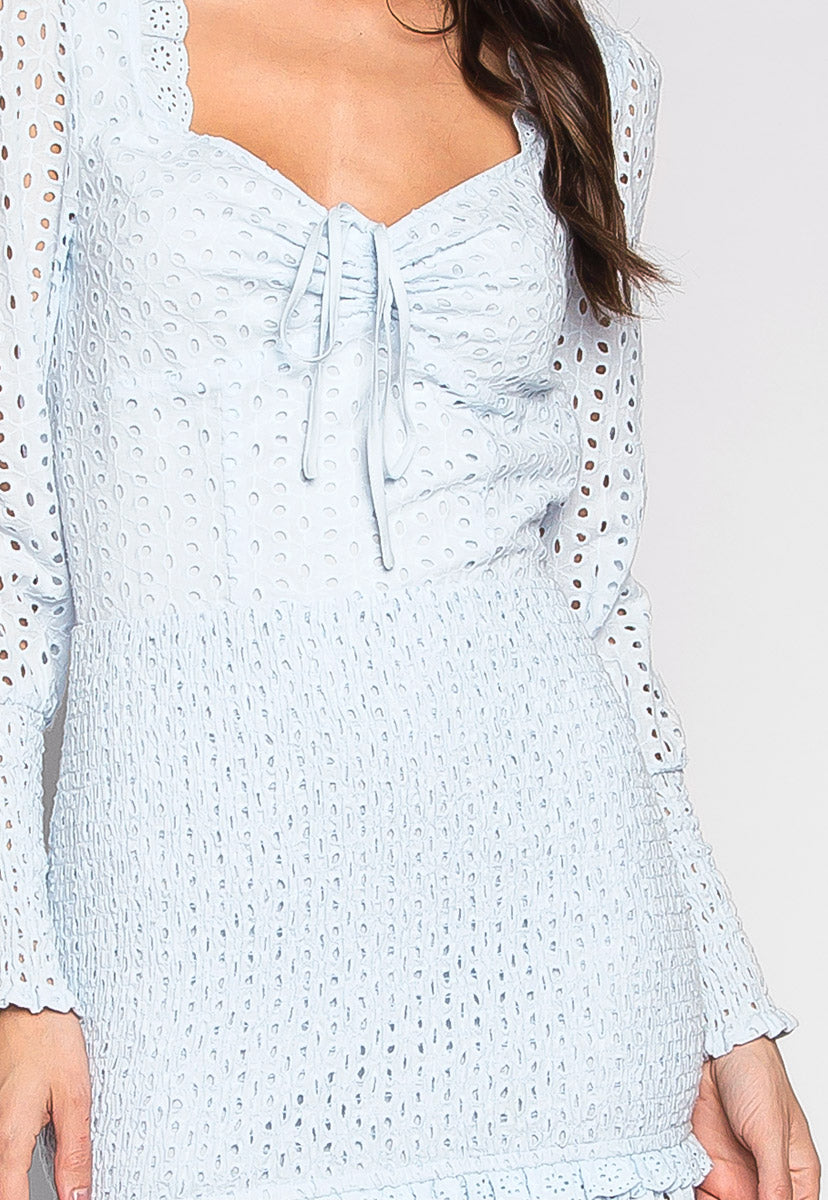 Clouds Above Eyeley Smock Panels Mini Dress - Dresses - Wetseal