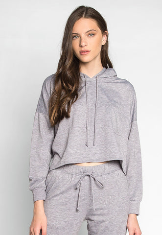 Meet You There Cropped Hoodie in Gray