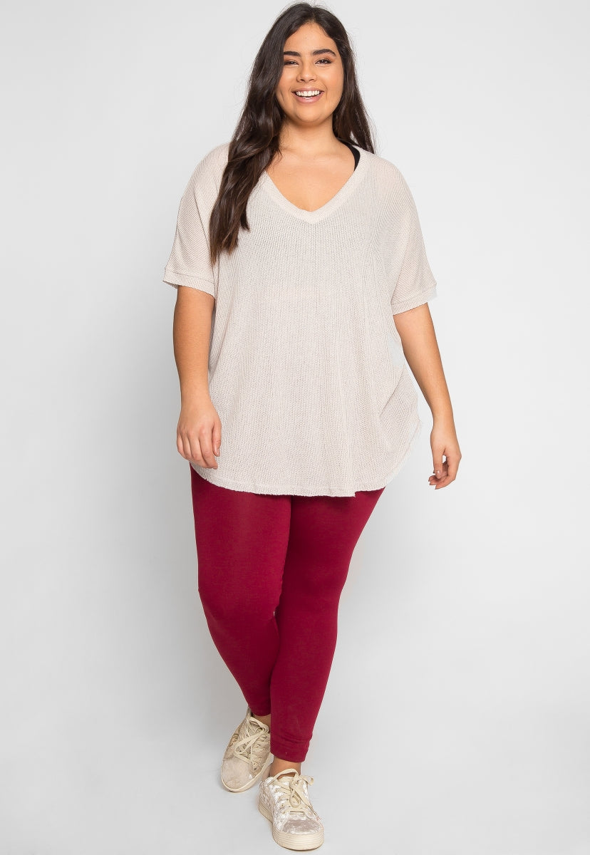 Plus Size Thermal V Neck Top in Beige - Plus Tops - Wetseal