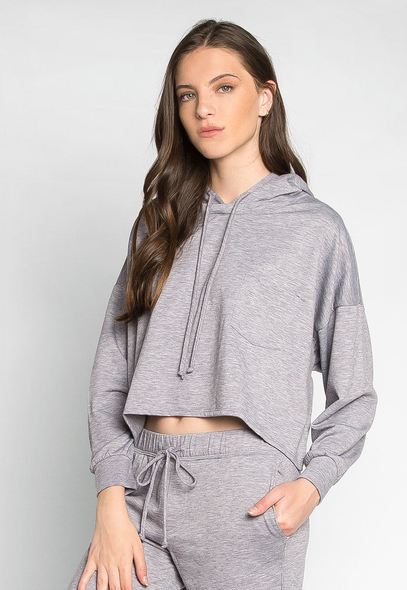 Meet You There Cropped Hoodie in Gray - Sweaters & Sweatshirts - Wetseal