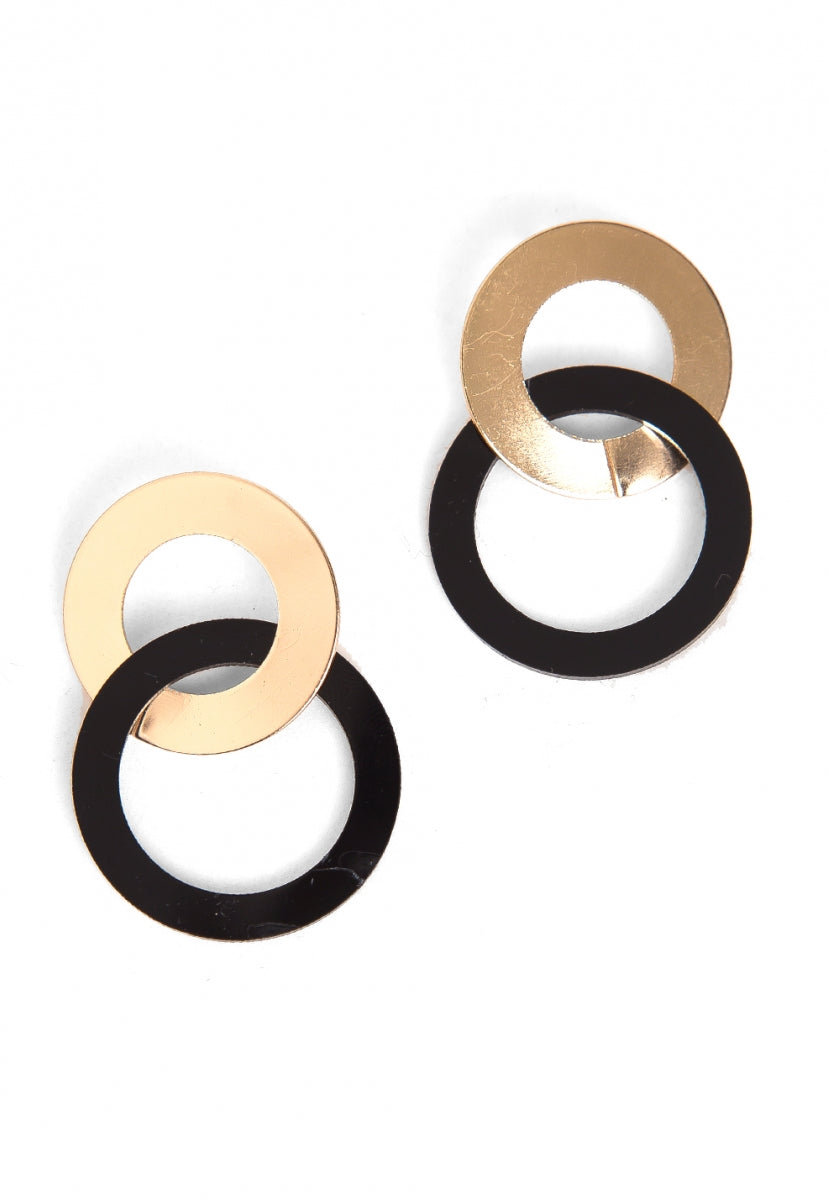Vision Hoop Layered Earrings in Black - Jewelry - Wetseal