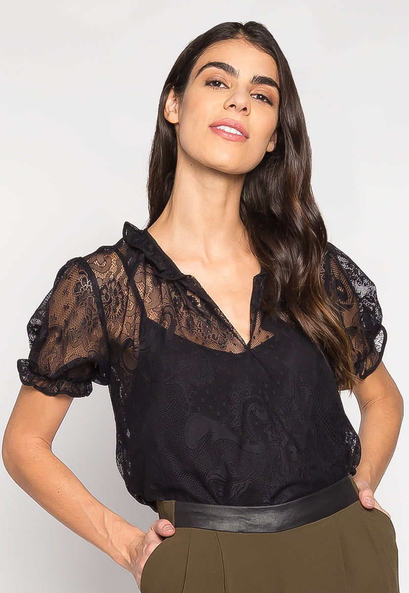 Keep It Classy Sheer Lace Blouse With Cami - Shirts & Blouses - Wetseal
