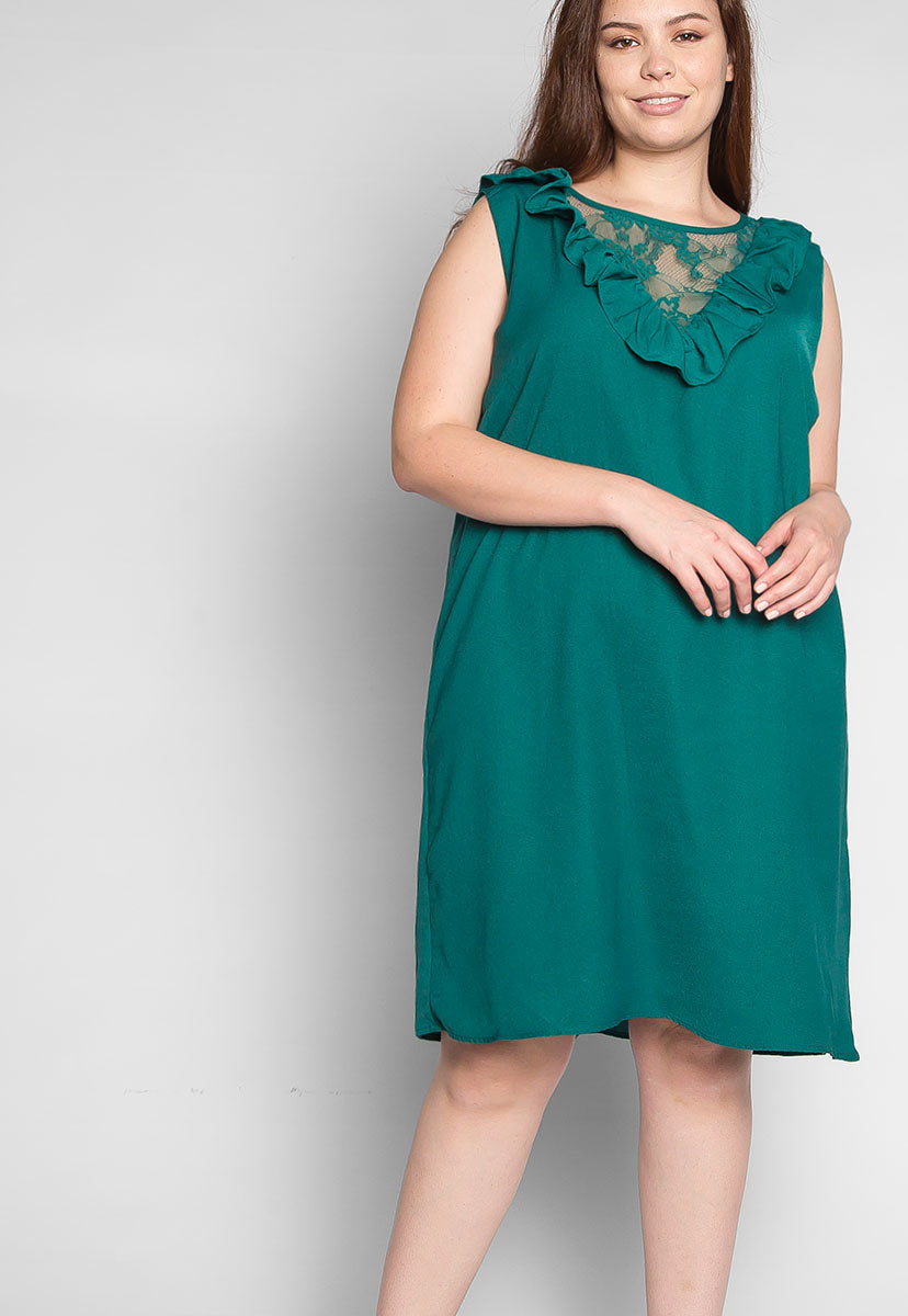 Plus Size Lavender Fields Ruffle Mini Dress in Green - Plus Dresses - Wetseal