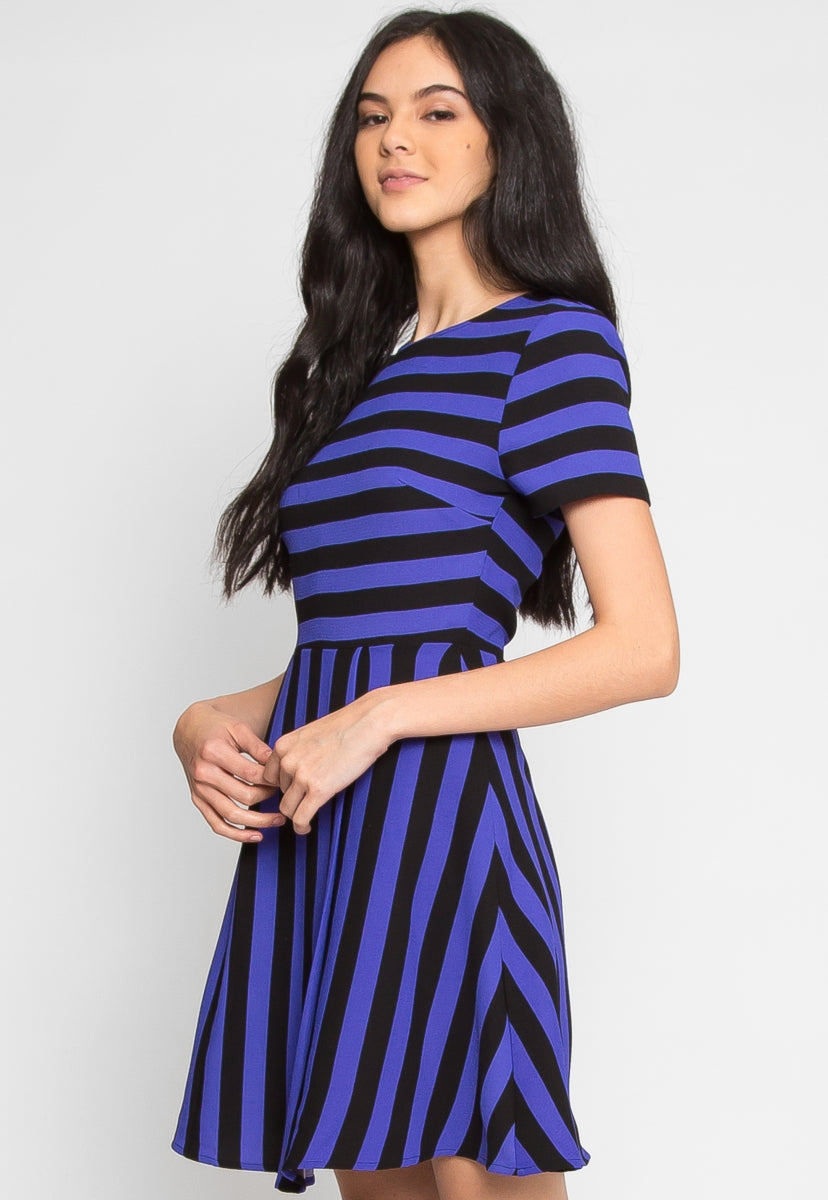 Equinox Stripe Fit and Flare Dress in Blue - Dresses - Wetseal