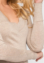 Perfect V Neck Sweater in Beige