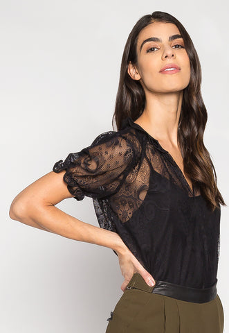 Keep It Classy Sheer Lace Blouse With Cami