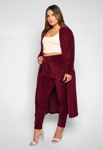 Plus Size Hit the Lights Blazer and Pants Set in Burgundy