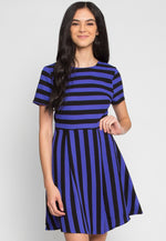 Equinox Stripe Fit and Flare Dress in Blue