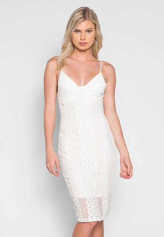 Angelic Applique Bustier Dress in White