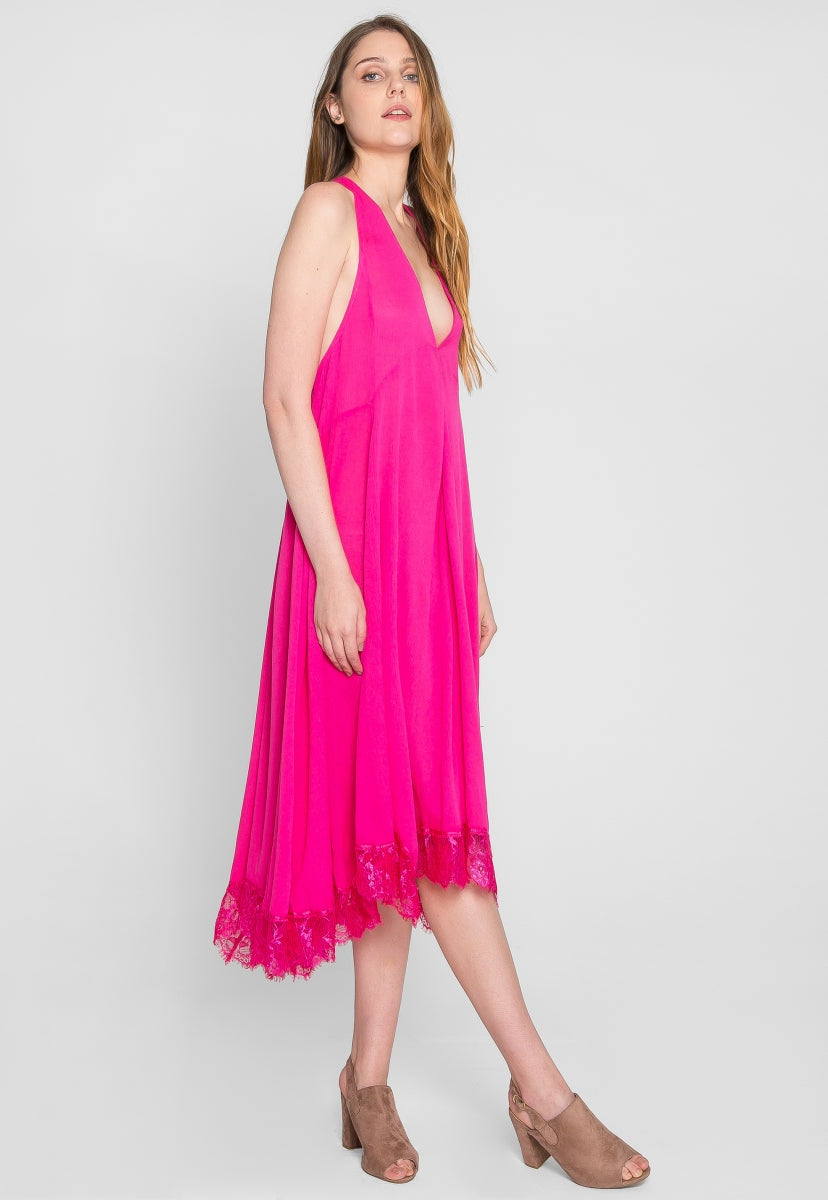 Flashback Lace Hem Trapeze Maxi Dress - Dresses - Wetseal