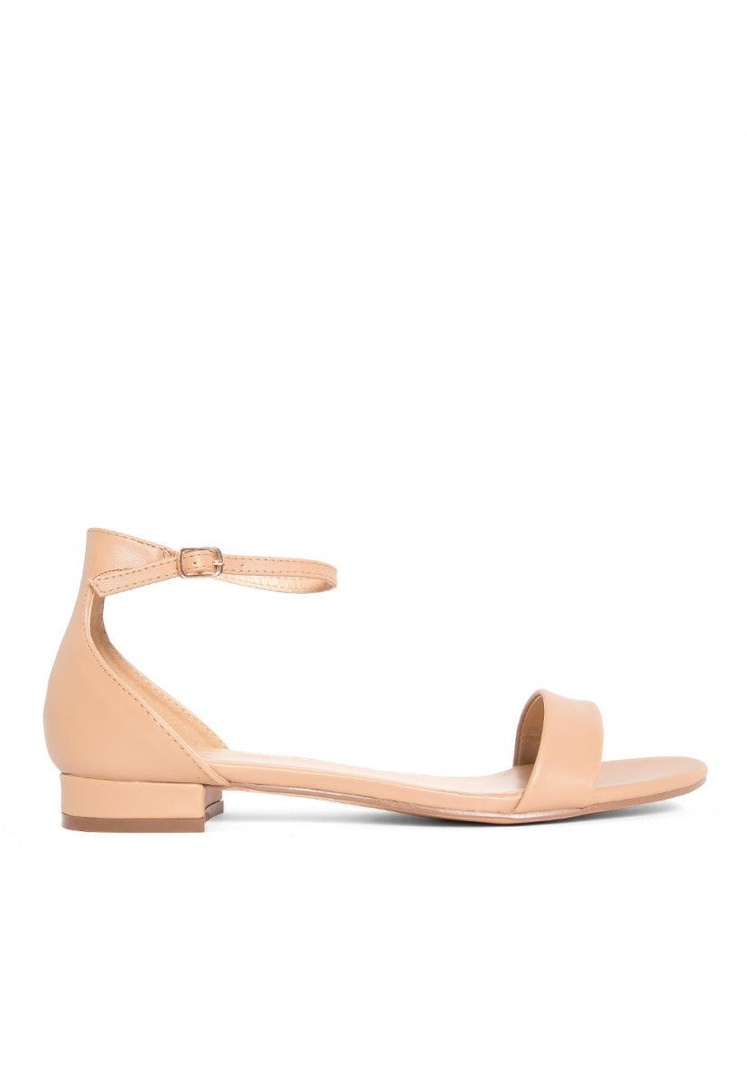 Highland Low Heel Sandals in Beige - Shoes - Wetseal