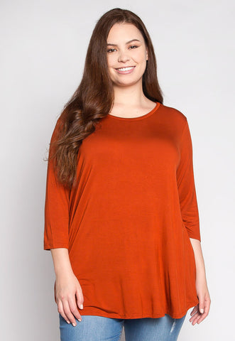 Plus Size Dolphin Hem Top in Orange