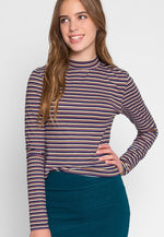 Throwback Multi Stripe Knit Top in Purple
