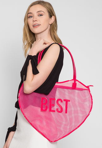 Best Friend Mesh Beach Tote Bags