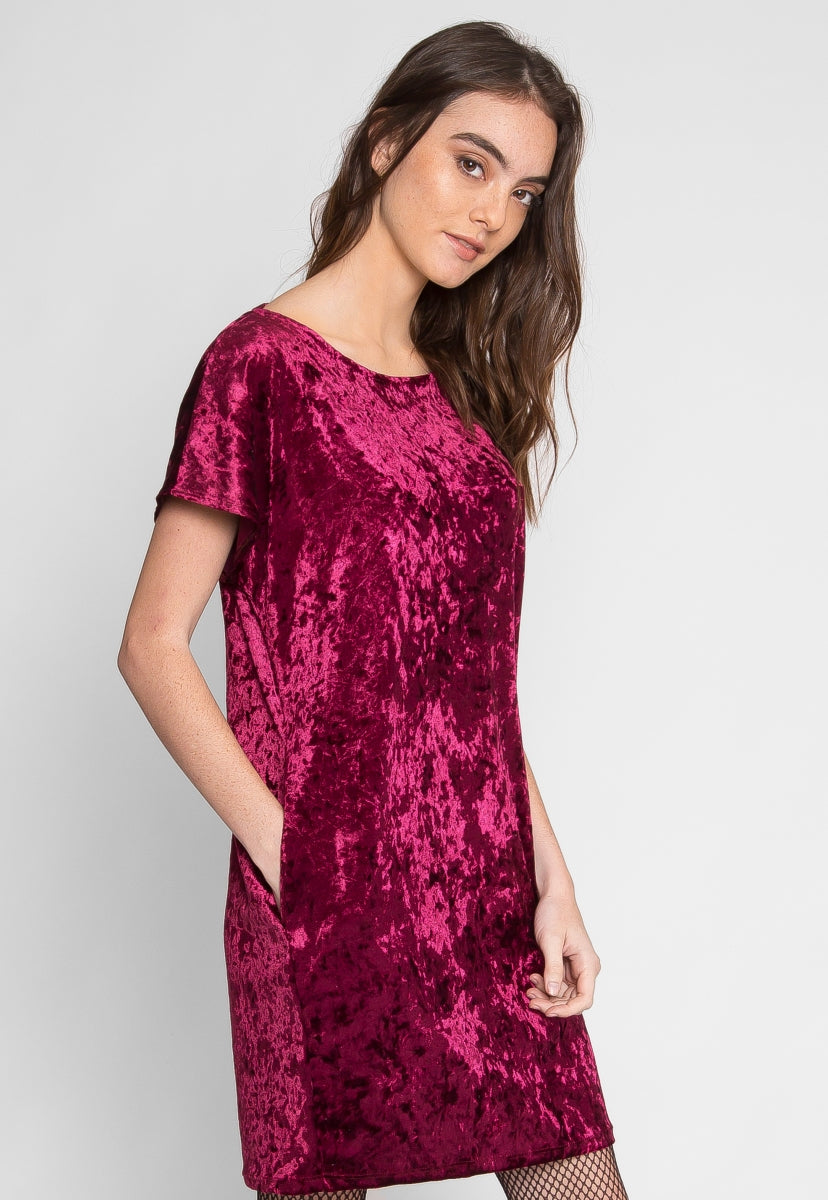 Stand By Me Velvet Dress in Burgundy - Dresses - Wetseal