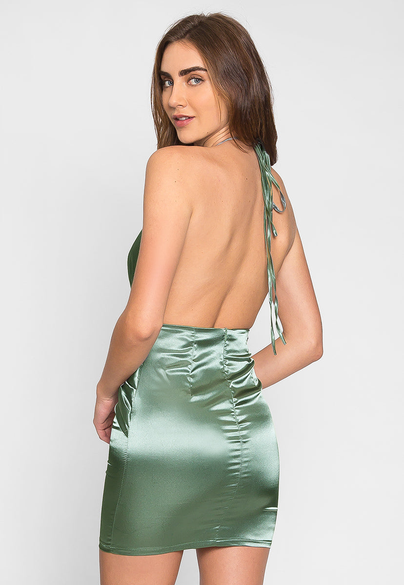 Expression Satin Plunge Mini Dress - Dresses - Wetseal