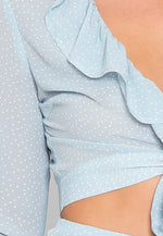 Tootsie Polka Dot Wrap Top in Baby Blue