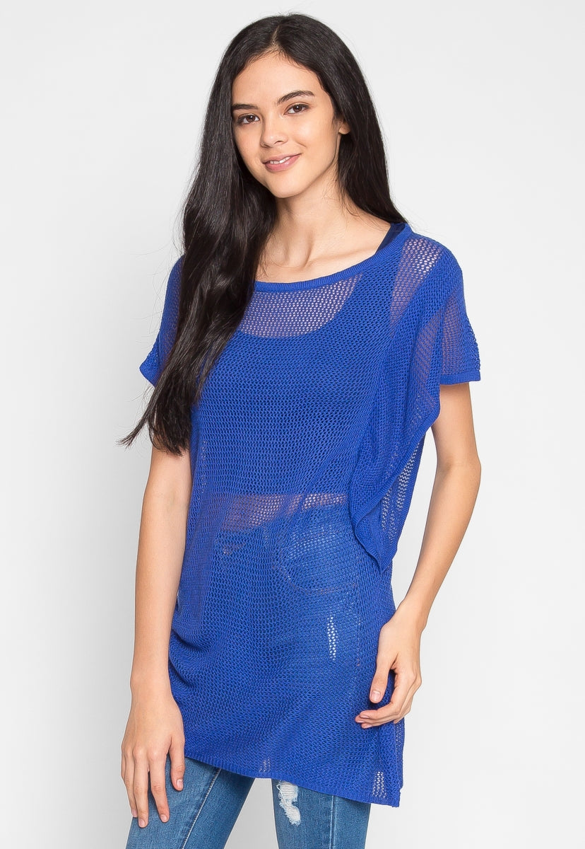 Tricot Knit Top in Blue - Shirts & Blouses - Wetseal