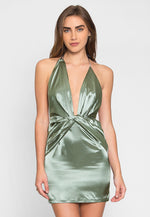 Expression Satin Plunge Mini Dress