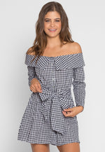 Wonders Gingham Plaid Shirt Dress