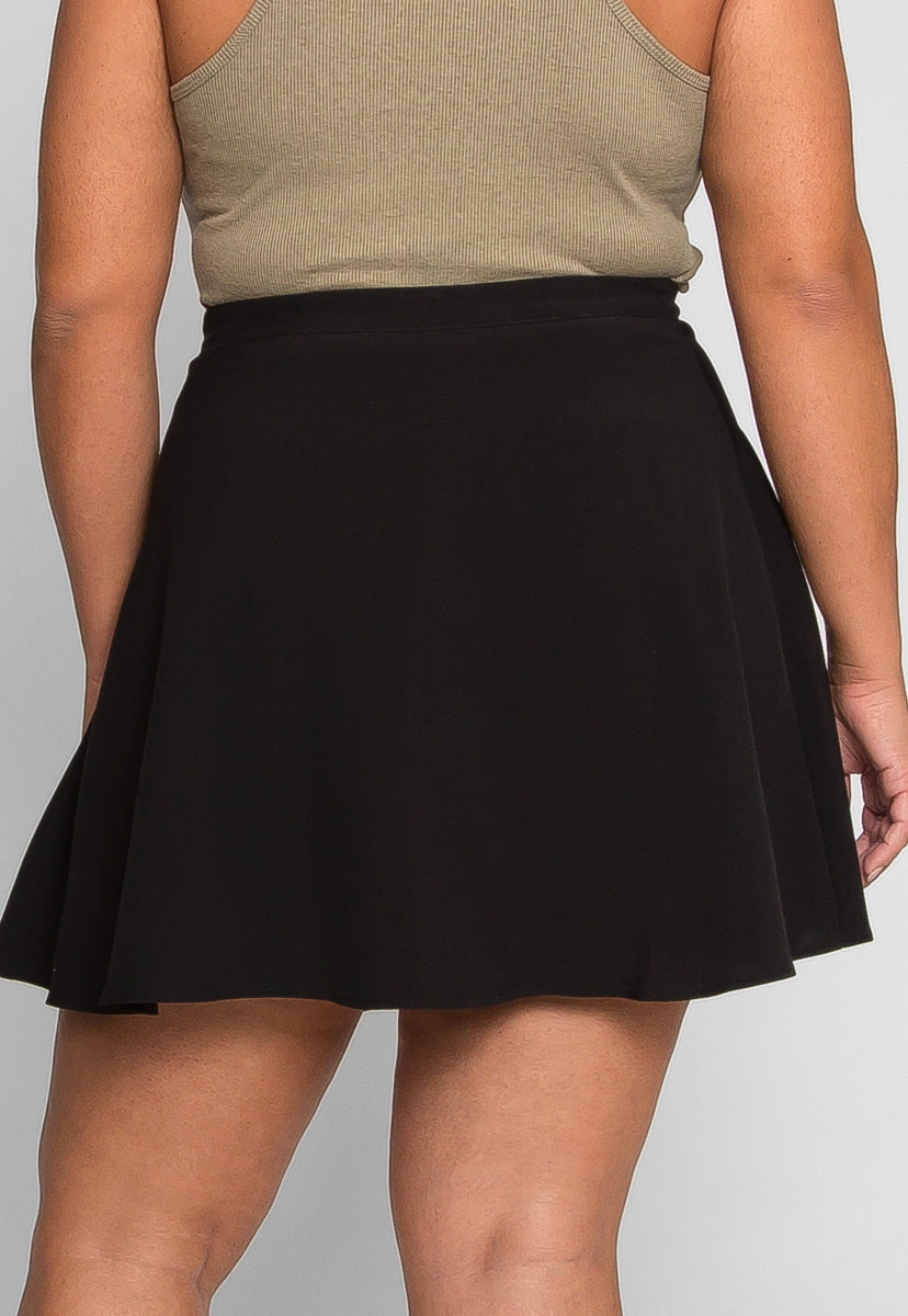 Plus Size Edgy Wrap Mini Skirt - Plus Bottoms - Wetseal
