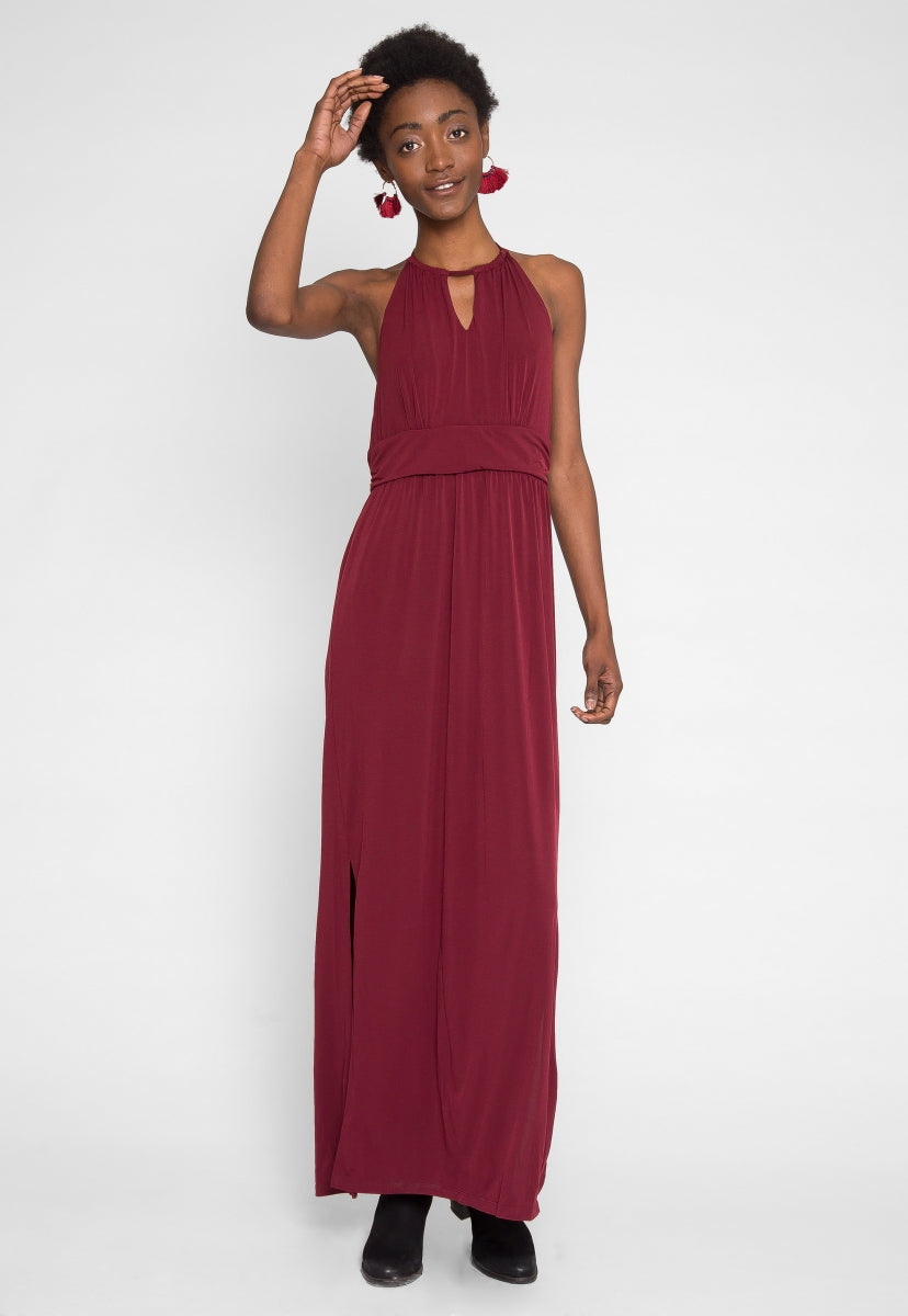 Backless maxi dress in burgundy - Dresses - Wetseal