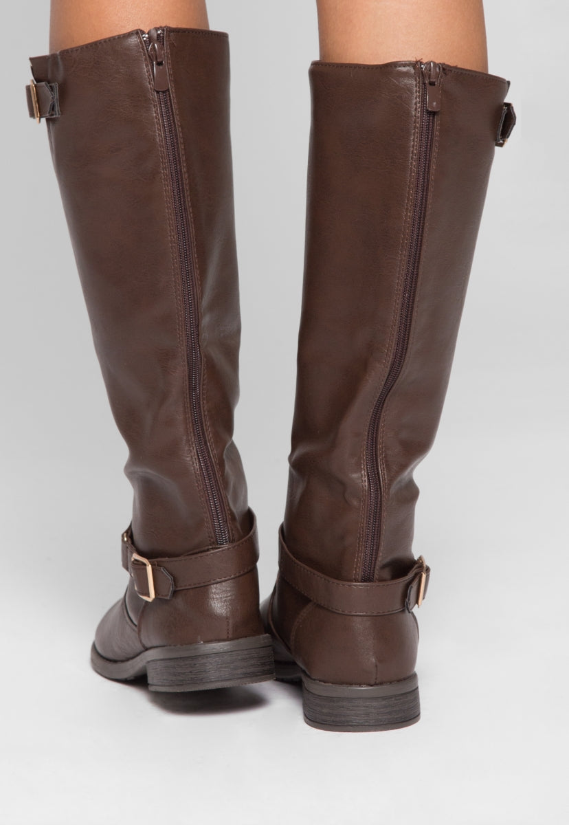 Justina Buckle Boots in Brown - Shoes - Wetseal