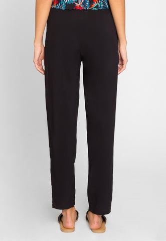 Joy High Waist Rayon Pants in Black