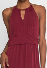 Backless maxi dress in burgundy