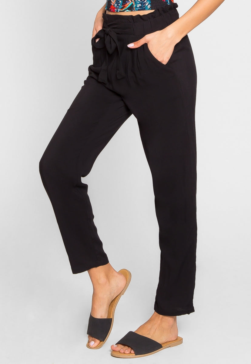 Joy High Waist Rayon Pants in Black - Pants - Wetseal