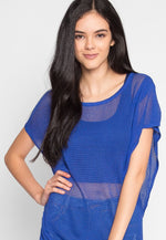 Tricot Knit Top in Blue