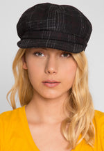 Sea Woman Plaid Cabby Hat in Black