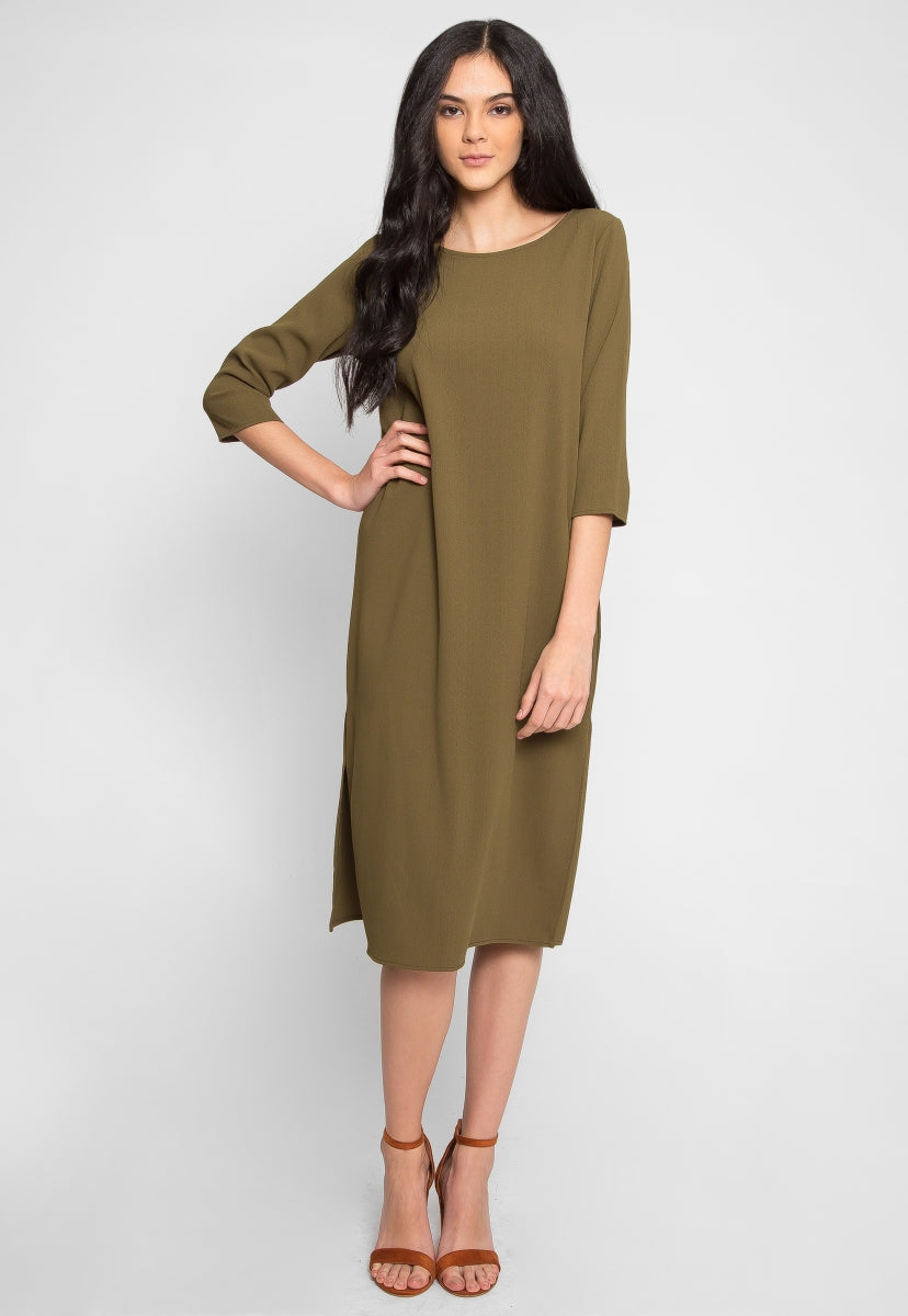 Olive Side Slit Midi Dress - Dresses - Wetseal