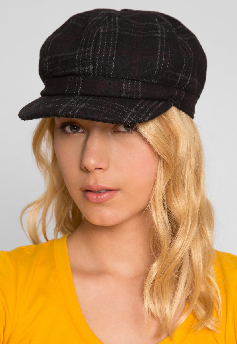 Sea Woman Plaid Cabby Hat in Black - Hat & Hair - Wetseal